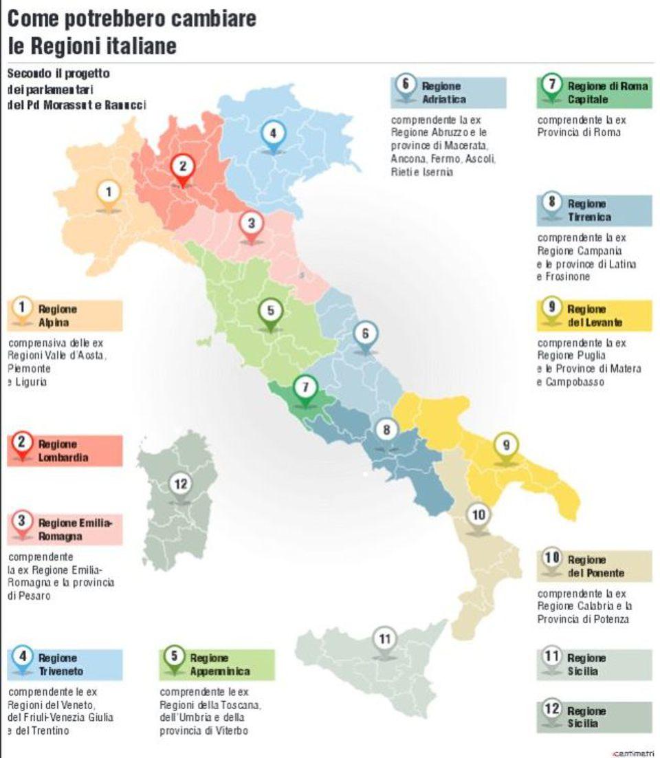 Di meno e pi grandi via alle nuove regioni la puglia - Regioni italiane non bagnate dal mare ...