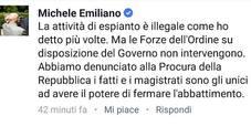 Emiliano, post al veleno: «Attività illegale ma le forze dell'ordine non intervengono»