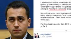 Di Maio, attacco con gaffe: «Renzi? Come Pinochet in Venezuela». Ma era il Cile