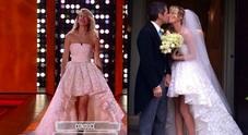 Alessia si presenta con l'abito da sposa del suo matrimonio