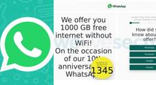 WhatsApp, la truffa del messaggio che promette 1000 GB in regalo