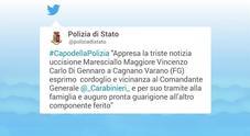 Carabiniere ucciso, i messaggi sui social: dall'Arma alle istituzioni