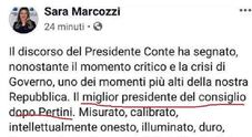 M5S, gaffe di Sara Marcozzi: «Conte miglior premier dopo Pertini». Poi corregge il post