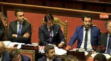 Video L'ex premier parla al Senato: le espressioni di Salvini, Di Maio e Conte