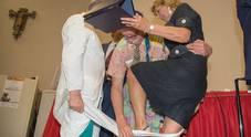 Al Gemelli pazienti in delirio per Patch Adams, star della Clownterapia (Foto Paolo Rizzo/Toiati)