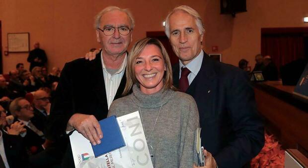 A sinistra Pino Antelmi con la figlia Francesca, e Giovanni Malagò