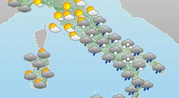 Meteo, weekend di maltempo e temperature in picchiata: al Centro-Sud rischio neve anche a bassa quota