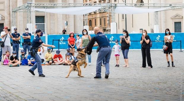 Euro 2020, a Roma i cani della Polizia di Stato in azione a piazza del Popolo