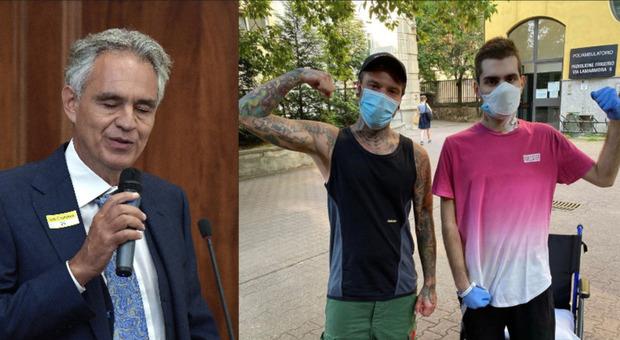 Covid, Fedez risponde a Bocelli: «Gli presento il mio amico che a 18 anni ha subito un trapianto ai polmoni»