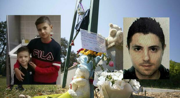 Da sinistra, Daniel e David, i fratellini uccisi, e il killer Andrea Pignani