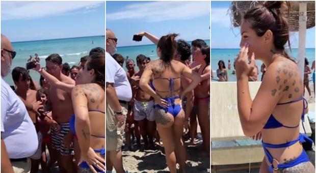 Elettra Lamborghini, folla di giovanissimi per un selfie in spiaggia: interviene la sicurezza