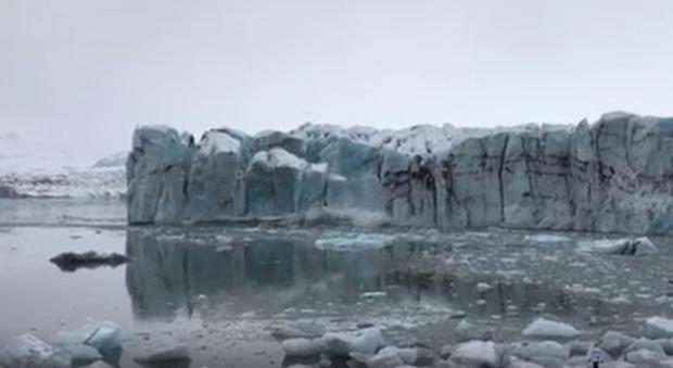 Il frame del video che ha mostrato il fenomeno naturale avvenuto in Islanda