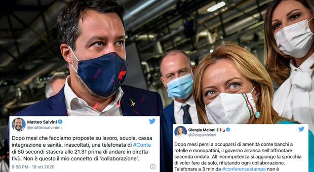 Salvini e Meloni contro Conte: «Collaborazione? Da lui solo una telefonata di pochi minuti»
