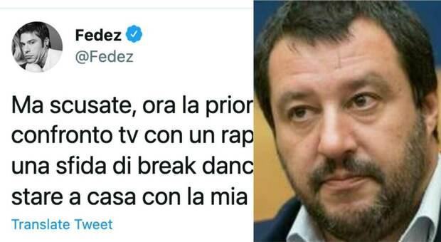Fedez risponde a Salvini: «La priorità di un politico è fare un confronto tv con un rapper? Facciamo una sfida di break dance?»