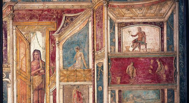 Parete in stucco policromo, 62-79 d.C. da Pompei, Casa di Meleagro