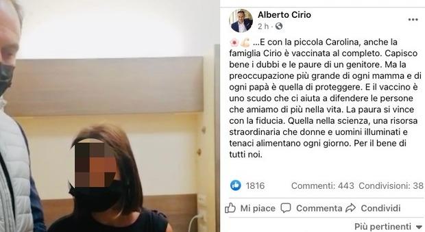 Piemonte, Cirio fa vaccinare la figlia (e posta la foto). Insulti dai no-vax: «Non toccate i bambini»