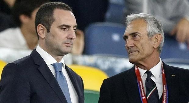 Il ministro dello sport, Vincenzo Spadafora con il presidente della Figc, Gabriele Gravina
