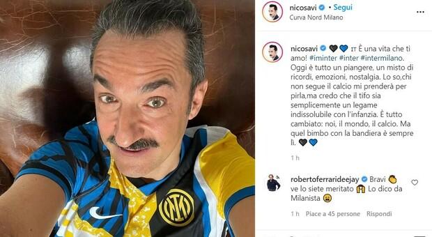 Scudetto Inter, le reazioni dei vip. Da Nicola Savino a Mentana: «Siete grandi. Forza Inter»