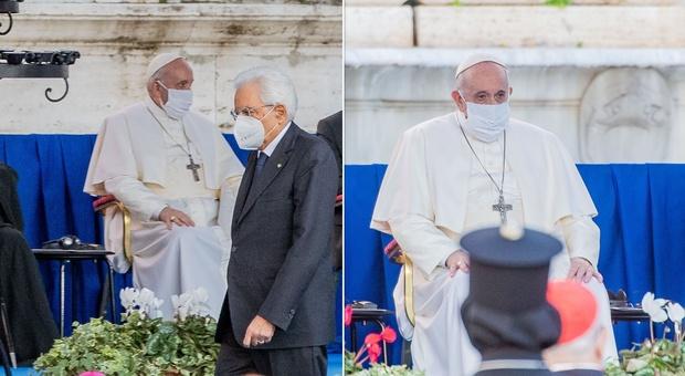 Preghiera per la Pace, Papa Francesco con la mascherina in Campidoglio