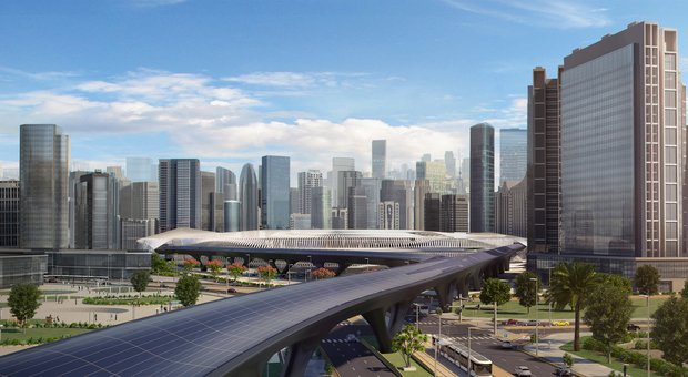Il rendering di una linea Hyperloop