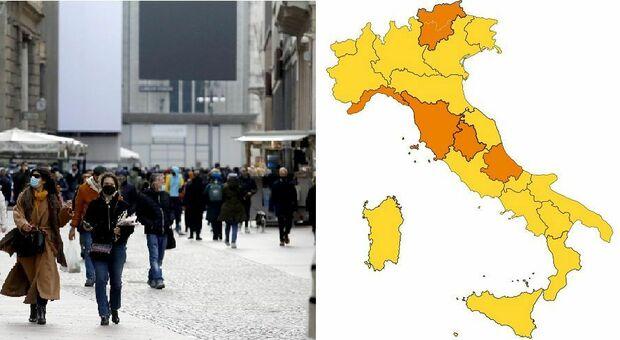 Zona arancione, le regioni che rischiano (anche Lombardia e Lazio). Umbria e Abruzzo da rosso