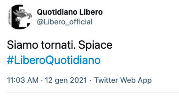 Libero, riattivato l'account Twitter: «Siamo tornati. Spiace». Ma sui motivi del blocco è giallo