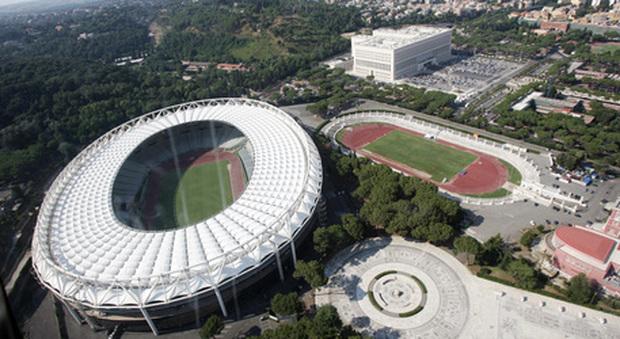 Un'immagine aerea dello stadio Olimpico