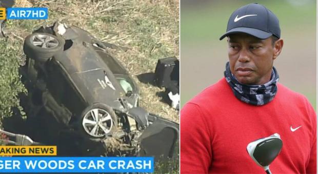 Tiger Woods choc, si è ribaltato con l'auto: estratto dalle lamiere, lesioni multiple alle gambe