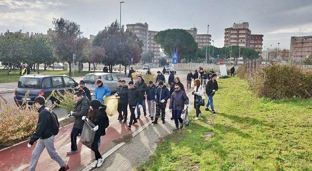 Plogging a Lecce nel quartiere Stadio