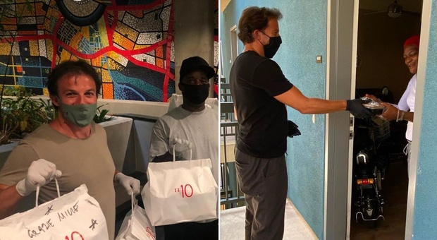 Los Angeles, Alex Del Piero consegna personalmente cibo del suo ristorante alle famiglie in difficoltà