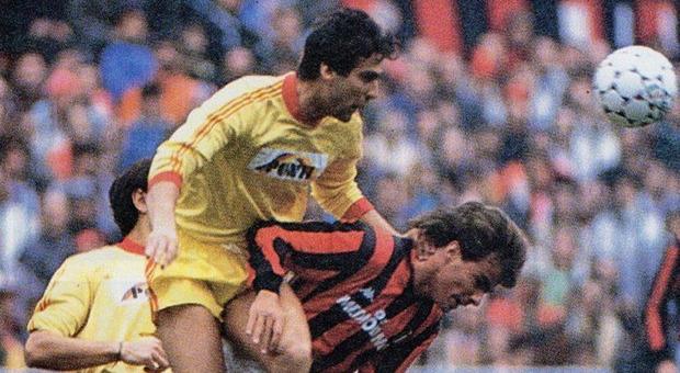 Ubaldo Righetti in una vecchia sfida tra Lecce e Milan