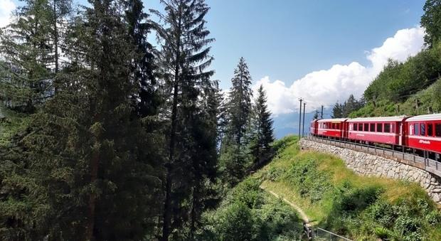 Svizzera, verso Pontresina e la Val Roseg sul trenino rosso del Bernina