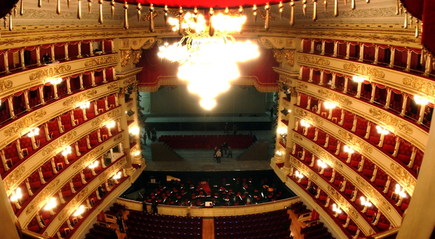 Veduta del teatro alla Scala dall'alto