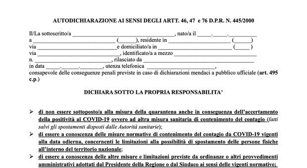 Coprifuoco nel Lazio, obbligo di autocertificazione per gli spostamenti. SCARICA QUI IL MODULO