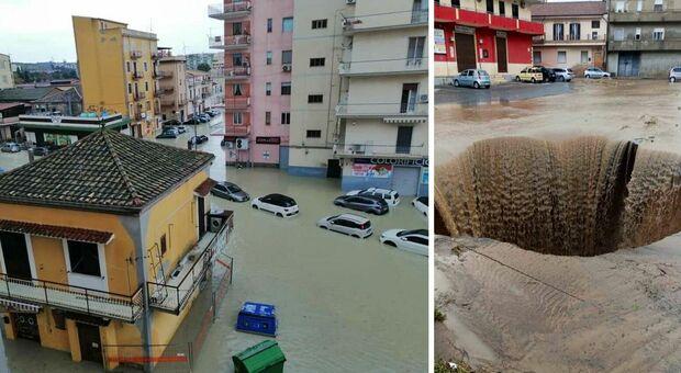 Crotone, nubifragio: strade e case allagate. Sindaco: restate a casa. A rischio partita Lazio