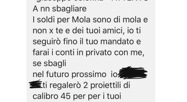 Sindaco di Mola minacciato di morte su Fb: «Ti regalo due proiettili per i tuoi»