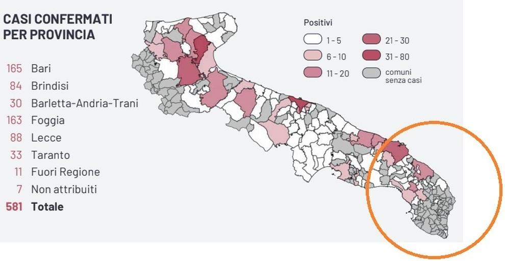Cartina Puglia Zona Lecce.Coronavirus La Mappa Del Contagio In Provincia Di Lecce
