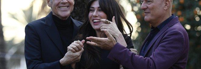 Claudio Baglioni, Virginia Raffaele e Claudio Bisio alla presentazione del Festival di Sanremo