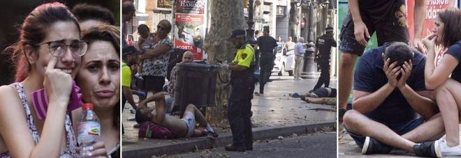 TERRORISMO, ATTACCO A BARCELLONA Van investe folla sulla Rambla: 14 morti, 100 feriti Tre arresti, fuggito il conducente del mezzo