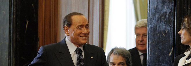 Silvio Berlusconi con Renato Brunetta e Paolo Romani