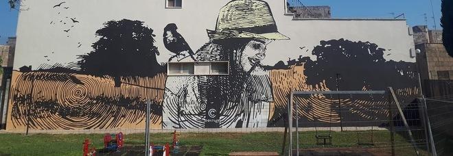 """Melpignano, il murales """"bucolico"""" nel parco della pace"""