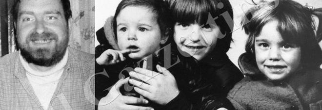 Vittorio Visentin e le tre bimbe nel 1984, dall'archivio del Gazzettino