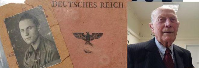 Nicola Santoro oggi, con le onorificenze ricevute. Accanto, il documento di identità di quando era militare italiano internato nei campi di lavoro nazisti
