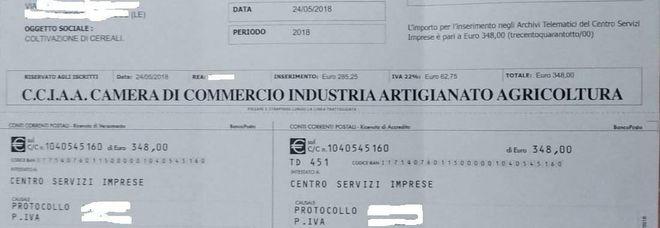 Camera di Commercio, «Bollettini da 300 euro: una truffa, non pagate»