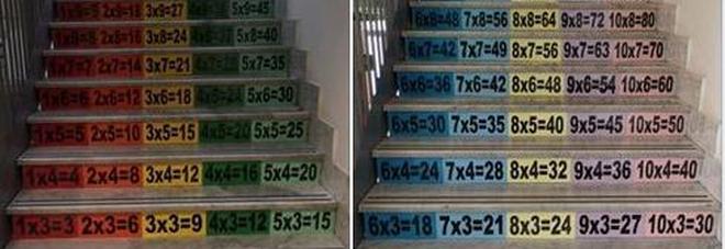 Imparare le tabelline salendo le scale: l'idea di una preside conquista il web