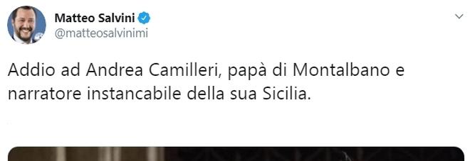 Salvini twitta su Camilleri, bufera social