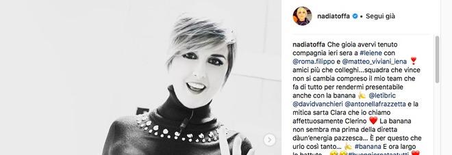 Nadia Toffa ringrazia i fan dopo la diretta: «Sto molto meglio, la banana dà un'energia pazzesca»