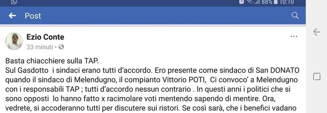 «Tap, Vittorio Potì e gli altri sindaci del territorio erano d'accordo». Il post choc dell'ex primo cittadino di San Donato