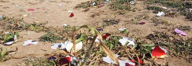 Scempio a Sant'Andrea: inondano la scogliera di cuoricini di plastica per la foto delle nozze