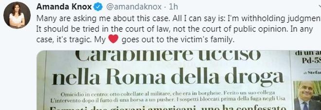Carabiniere ucciso, parla Amanda Knox: «Il mio cuore è vicino alla famiglia della vittima»